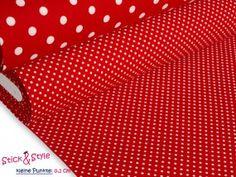 Stoff mit Pünktchen rot / weiß - Baumwollpopeline