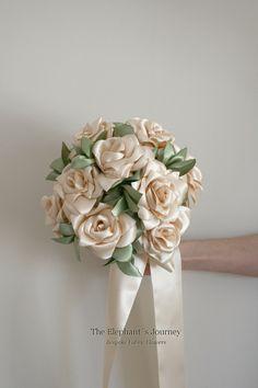 11 Roses Fabric flower bouquet, bridal bouquet, Fabric wedding bouquet cream, champagne bouquet, keep safe bouquet , alternative bouquet by TheElephantJourney on Etsy