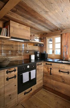 Cabin kitchen in the extreme! Love the handles!