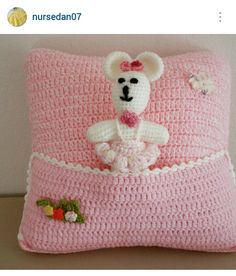 Instagram @nursedan07 ~ crochet baby throw pillow with pocket for amigurumi doll ~ pic only