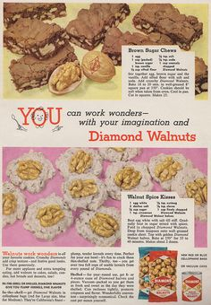 Yummy cookie and brownie recipes from Diamond Walnuts ad, Family Circle, December 1956