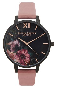 Free shipping and returns on Olivia Burton 'After Dark' Leather Strap Watch, 38mm at Nordstrom.com. Lush, colorful blossoms and polished, rosy indexes brighten the dusky dial of a charming round watch designed with a glossy black case and a comfortable strap of smooth pink leather.