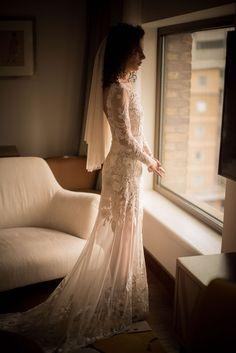 Natalie is long sleeve Wild Rose Garden gown with a low back. #hermionedepaula #citybride #luxurybride #longsleeveweddingdress #modernbride #handembroideredweddingdress #backlessgown Bridal Wedding Dresses, Bridal Style, Bridesmaid Dresses, Hermione, Backless Gown, Bridal Lingerie, Couture Dresses, Bridal Looks, Dream Dress