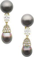 South Sea Cultured Pearl, Diamond, Gold Earrings
