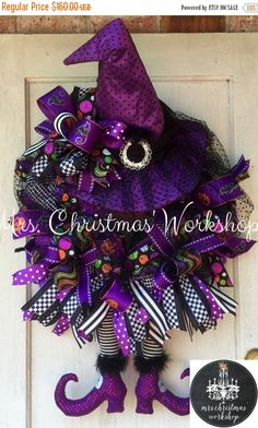 Christmas in July sale Halloween wreath witch wreath deco mesh wreath witch…