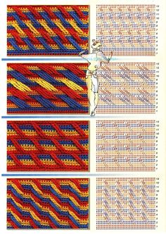 Crochet motifs with charts.Colorful desings -- see Original Apache TearsPatterns to crochet: stitch diagonalFind and save knitting and crochet schemas, simple recipes, and other ideas collected with love.Various stretched stitches Crochet Motifs, Crochet Diagram, Crochet Stitches Patterns, Crochet Chart, Crochet Squares, Crochet Afghans, Knitting Stitches, Crochet Designs, Stitch Patterns