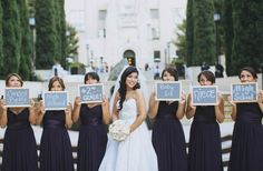 Fun photo idea for you & your bridesmaids! Have each girl hold up a sign saying how she knows the bride | vinceandcarla.com