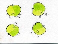 Les fruits font du yoga : la pomme