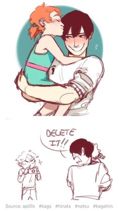 Kagehina and Natsu ^-^ <<< NO THERE ISNT FAIRY TAIL HERE THE GIRL IS HINATA'S SISTER YOU UNEDUCATED SWINE