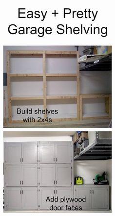 DIY garage shelves with doors #IdeasWoodworkingProjectsPaintedFurniture