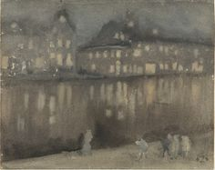 """Nocturne: The Grand Canal, Amsterdam"" by James McNeill Whistler, 1883    James Abbott McNeill WhistlerNocturne: The Grand Canal, AmsterdamWatercolour on paper, 1883Freer Gallery of Art, Washington DC"