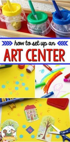 How to Set Up an Art Center in Preschool - Pre-K Pages Art Center Preschool, Preschool Set Up, Preschool Classroom Setup, Preschool Rooms, Art Classroom, Preschool Activities, Preschool Pictures, Preschool Learning Centers, Classroom Ideas