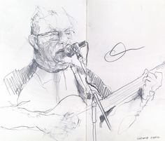 Ludwig O'Neill at the Empire 'Society Sessions' in Belfast.A5 Moleskine pencil sketch.