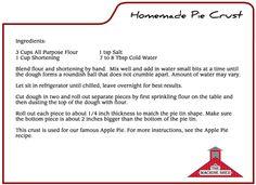 Machine Shed recipe for pie crust