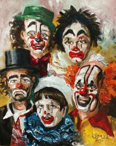 Where do clown paintings fit in when considering genres of art and art history? Are they worthy of more than thrift-store respect? Check out our galleries of clown art! Es Der Clown, Le Clown, Circus Clown, Creepy Clown, Art Vintage, Vintage Circus, Vintage Posters, Clown Photos, Clown Paintings
