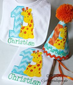 giraffe party, jungle Safari theme, birthday Chevron set, party hats ,giraffe party hat, cake smash,1st birthday party hats,birthday outfit on Etsy, $15.00