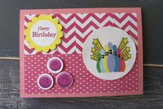 Handmade Girls Ten Pin Bowling Card