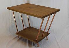 Red Oak & Copper Pipe End Table by Paul Segedin Red Oak & Copper Pipe…