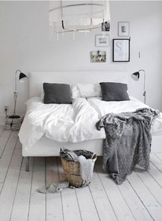 Casual, modern white and grey Scandinavian bedroom. Nothing over-complicated here.