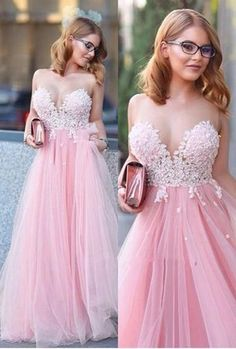 Custom Made Pink Appliques Prom Dress,Sexy Sweetheart Evening Dress,Floor Length Party Gown,Tulle Pegeant Dress,Off the shoulder dress