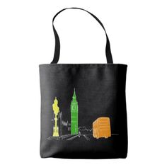 London Forever Love Black Neon Vibrant Cool Modern Tote Bag - cool gift idea unique present special diy