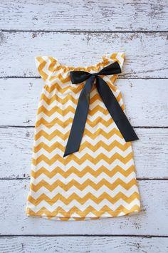 Chevron girls dress mustard yellow baby dress  by PoshPeanutKids, $20.00