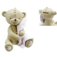 BUTTON CORNER TEDDYBEAR (GIRL) MONEY BOX CHRISTENING /CHRISTMAS /BIRTHDAY GIFTS