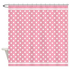 Pink Polka Dots Patterned Shower Curtain For Eden's Bathroom