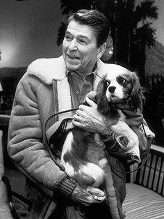 Ronald Reagan with his King Charles spaniel Rex