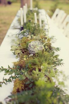 Rustic greenery and wildflower centerpiece.   Photo by Sarah Kate Photographer.  #wedding #green