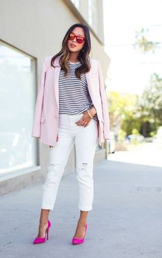 Song of Style- Pink Blazer Song Of Style, My Style, Hot Pink Pumps, Pink Shoes, Pink Heels Outfit, Elegante Y Chic, Look Boho Chic, Look 2015, Love Fashion
