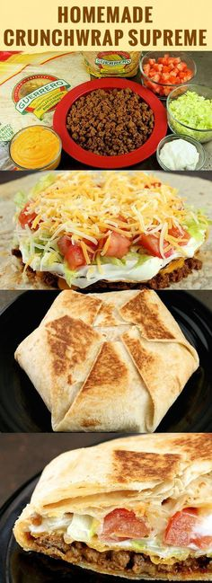 Homemade Crunchwrap Supreme Recipe What's better than Taco Bell? Make a delicious Crunchwrap Supreme at home wit. Beef Recipes For Dinner, Mexican Food Recipes, Cooking Recipes, Healthy Recipes, Recipes For Wraps, Lunch Recipes, Free Recipes, Cooking Tips, Cooking Chef