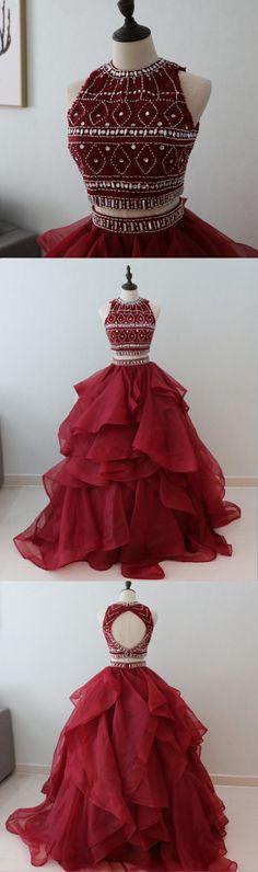 Two Piece Prom Dress, Burgundy Prom Dress, Beaded Tulle Prom Dress For Teens #promdress #promdresses #prom #dresses