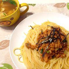 納豆の日〜( ̄▽ ̄) モヤシスープと一緒に〜☆ - 24件のもぐもぐ - 納豆キムチパスタセット by coccotomo