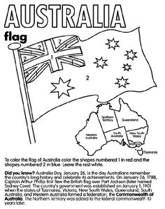 Australia coloring page, plus pages for other countries. Flag coloring pages. Use for #homeschool geography and history with Apologia's Around The World in 180 Days