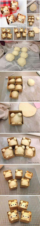 How to make Teddy Bear Bread in a Box - kawaii japanese bento box recipe Cute Food, Good Food, Yummy Food, Bread Recipes, Cooking Recipes, Bread Art, Snacks, Food Humor, Creative Food