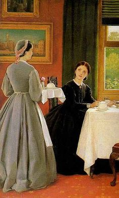 """1865 - Leslie Dunlop """"Afternoon Tea"""" Lady taking tea, served by maid."""