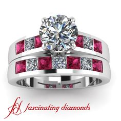 Round with Pink Sapphire Princess Cut Diamond Engagement Ring