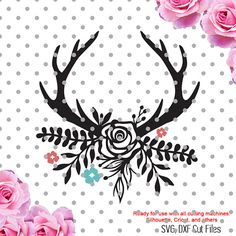 Antlers with flowers grouped svg  Please have a look at my other art! https://www.etsy.com/shop/CutesyPixel  This is Digital artwork ready for immediate download and ready to be use on such software as Cricut Design Space, Silhouette Studio and other cutting software. The high quality files will cut cleanly and smoothly since they are professionally digitized instead of auto-traced.  ----------------------- ★★ Package Included ★★-----------------------------------  - 2 sep...
