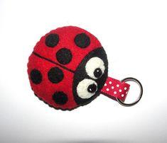 Wool Felt Ladybug Keychain, Ladybird Keychain, Keyring, Keyholder, Plush Ladybug, Gift Bag, Zipper Pull, Decor, Ornament, Gift, Felt Animal