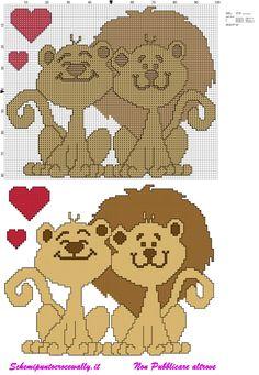 schema punto croce gratis san valentino leoni innamorati