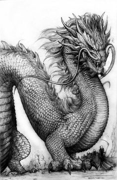 ☆ Ghost Dragon .:+:. By *ChuckWalton ☆ | Dragons & Mythical Places and Creatures | Pinterest   #dragons #drawing