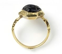 French saphire and gold ring circa 1300's This gold ring is set with a sapphire, a popular choice of stone in the Middle Ages, worn by the nobility or royalty, the gem being by far the most valuable part of the ring. Gem rings were considered to have amuletic and protective power. Sapphires were believed by some writers to promote chastity,peace and reconciliation and to cure snake bites, also to have cooling powers to cure headaches and heal ulcers. V Search the Collections