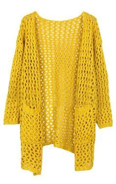 Yellow Long Sleeve Hollow Pockets Cardigan Sweater