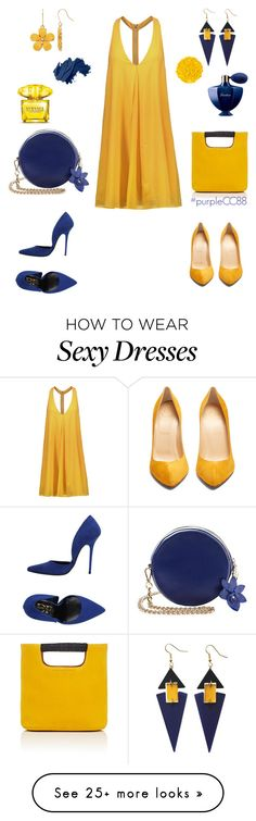 """Sexy Lady - Yellow and Blue"" by purplecc88criss on Polyvore featuring Alice + Olivia, Simon Miller, Christian Louboutin, Toolally, Divine Follie, Illamasqua, Bobbi Brown Cosmetics, Versace and Guerlain"