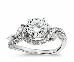 Monique Lhuillier Floral Diamond Engagement Ring in Platinum - intrigued by this setting
