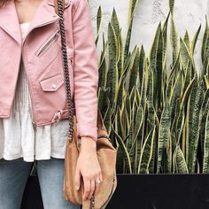 Pink moto jacket outfit
