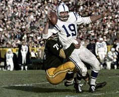 Green Bay Packers linebacker Bill Forester sacks Baltimore Colts quarterback Johnny Unitas during a game at new City Stadium on Nov. 18, 1962. The Packers won 17-13. Press-Gazette archives