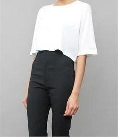 black cigarette pants flowy white crop top