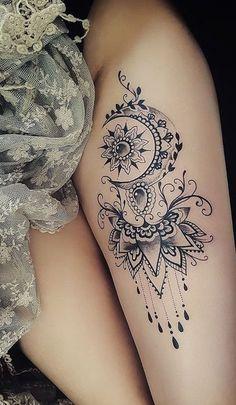 Moon Mandala Thigh Tattoo Ideas for Women -  ideas frescas del tatuaje del muslo de la luna para las mujeres - www.MyBodiArt.com